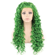 Iewig Long Curly Green Synthetic Hair Front Lace Costume Party Wig