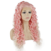 Iewig Long Curly Pink Synthetic Hair Front Lace Cosplay Party Wig