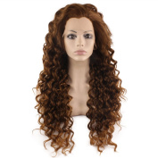 Iewig Long Curly Brown Blond Mix Heat Friendly Fibre Hair Lace Front Wig