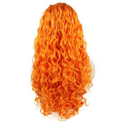 Iewig Long Curly Orange Synthetic Hair Front Lace Cosplay Party Wig