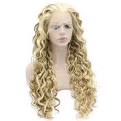 Iewig Long Curly Blond Mix Heat Friendly Fibre Hair Lace Front Wig