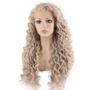 Iewig Long Curly Grey Blond Heat Resistant Fibre Hair Lace Front Wig