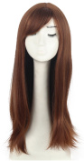 Women's Long Straight Medium Brown Hair Wig with Bangs Cosplay Costume Party Full Wigs