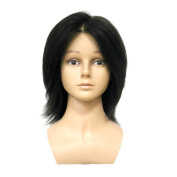 HAIR WAY 100% Human Hair Mannequin Head 18cm Hairdresser Training Head with Shoulder Cosmetology Manikin Head for Hair Styling & Training Practise #1B Colour