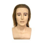 HAIR WAY 100% Human Hair Male Mannequin Head with Shoulder 18cm Hairdresser Training Head OMC Appointed Competition Head Manikin Cosmetology Doll Head #7 Colour