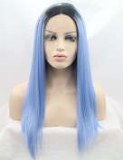 2 Tones Lace Front Wigs Ombre Blue Dark Roots Long Straight Synthetic Wig For Women Heat Resistant Fibre Hair Half Hand Tied 60cm