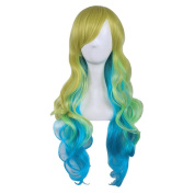 "COSIN 27.5"" Long Wavy Yellow Gradient Green to Blue Wigs Full Colourful Costume Party Anime Cosplay Wigs with Wig Cap"