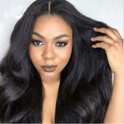 Natural Black Colour Body Wave Lace Front Human Hair Wigs-Glueless 130% Density Brazilian Virgin Hair Wigs with Baby Hair for Black Woman