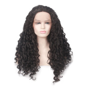 Yesui Synthetic Lace Front Wigs for Black Women Natural Black Long Deep Curly Heat Resistant Synthetic Fibre 60cm