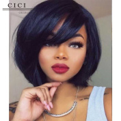 Cici Collection Human Hair Short Bob Wig Glueless 150% Density Short Hair Full Lace Human Hair Wig Brazilian Hair Bob Wigs With Bangs for Black Women With Baby Hair
