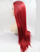 Long Straight Synthetic Wig For Women Red Lace Front Wigs Glueless Heat Resistant Fibre Hair Half Handmade 60cm
