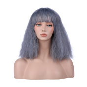 YOPO Short Bob Fluffy Wig with Bangs Synthetic Full Hair Wigs Kinky Straight Fashion Wig Heat Resistant Synthetic wig for Black Women