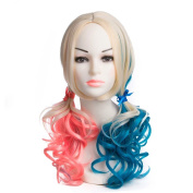 Synthetic Blonde Red And blue Colour Wig Heat Resistant Fibre Guleless Handmade Natural Body Wave Hair Fully Wigs For Women