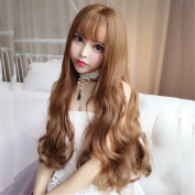 Handmade Synthetic Light Brown Wig Long Curly Guleless Heat Resistant Fibre Natural Fully Hair Wigs For Women