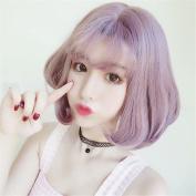 Light Purple Short Bob Neat Bangs Women Wig Heat Resistant Straight Cosplay Wigs