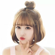 Synthetic Natural Brown Short Bob Wigs Wave High Temperature Heat Resistant Fibre Hair Wig For Women
