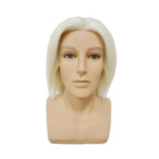 HAIR WAY 100% White Wool Male Mannequin Head with Shoulder 20cm Hairdresser Training Head OMC Appointed Competition Head Manikin Cosmetology Doll Head #0 Colour