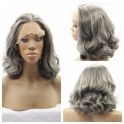 Short bob curly medium grey synthetic hair wig free part lace front