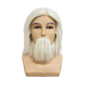 HAIR WAY 100% White Wool Male Mannequin Head with Beard and Shoulder 18cm Hairdresser Training Head OMC Appointed Competition Head Manikin Cosmetology Doll Head #0 Colour