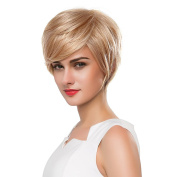Mufly Charming Short Human Hair Side Fringe Blend Capless Wigs For Women Cosplay Party 25cm