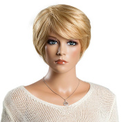 Mufly Fashionable Short Human Hair Nature Straight Blend Capless Wigs For Women Cosplay Party 23cm