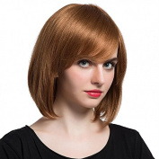 Mufly Curly Bob Style Human Hair Medium Length Side Fringe With Capless Cap Wigs 28cm