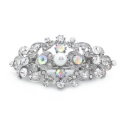 Sparkly Bride Aurora Borealis AB Crystal Simulated Pearl Romancing Heart Wedding Hair Barrette Rhinestone Small, 6.4cm