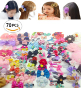 70Pack Sc0nni Hair Clips Barrettes with Bows Designed For Baby,Toddler,and Young Girls-Variety Styles