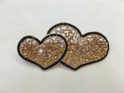 Gorgeous Vintage Jewellery Crystal Rhinestones Double Heart Design Hair Barrette Clips Hair Clips- Large Size - Crystal Amber Colour -For Hair Beauty Tools
