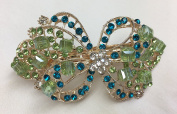 Gorgeous Vintage Jewellery Crystal Rhinestones Bow Design Hair Barrette Clips Hair Clips- Large Size - Green Colour -For Hair Beauty Tools