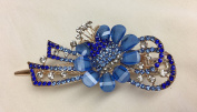 Gorgeous Vintage Jewellery Crystal Flower Design Fashion Hair Clips Hair Pins Hair Sticks - Large Size - Blue Colour -For Hair Beauty Tools