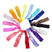 Munax Elastic Hair Ties No Crease Elastic Ribbon Ponytail Holders Hair Bands, Solids colour , 100 pcs