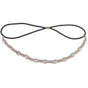 Lux Accessories Bridal Occasion Crystal Rhinestone Statement Elastic Headband