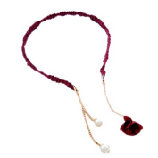 2PCS Fashion Hairpin with False Sweet Earring Headbands Hair Accessories-Wine Red