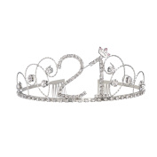 BABEYOND Crystal Tiara Birthday Crown Princess Crown Hair Accessories Silver Diamante Happy 18/20/30/40/50/60th Birthday