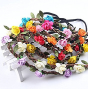 VNDEFUL 7 Pcs Fashion Bohemian Love Flower Garland Crown Headband for Women Girls Hair Accessories
