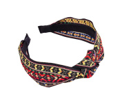 Embroidery Cloth Art Headband Bow Hair Card Hair Band Wide Edge Headband