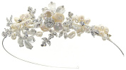 Enchanted Brides' Handcrafted Wedding Headpiece of Elegant Keshi Pearl, Freshwater Pearl Flowers, and Soft Silver Metal Flowers