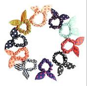 VNDEFUL 10PCS Cute Rabbit Ear Hair Bands Bow Ties Ponytail Holders colour randomly