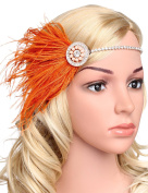 BABEYOND Women's Crystal Headpiece Great Gatsby Silver Headbands for Women Flapper Accessories with Ostrich Feather