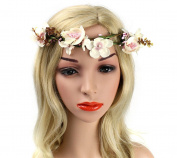 Jakcsale Bridal Flower Headband Wreath Vines Crown Floral Garland for Wedding Festivals FS2060