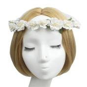 Jakcsale Flower Headband Wreath Crown Floral Garland with Adjustable Ribbon for Wedding Festivals FA2051