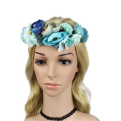 Jakcsale Flower Headband Wreath Crown Floral Garland with Adjustable Ribbon for Wedding Festivals