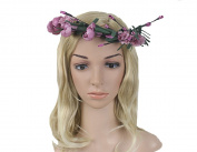 Jakcsale Bridal Flower Headband Wreath Crown Floral Garland Halo for Wedding Festivals Pink