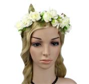 Jakcsale Bridal Flower Headband Wreath Crown Floral Garland Halo for Wedding Festivals