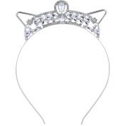 Lux Accessories Silver Tone Bling Rhinestone Halloween Bride Cat Ear Headband