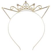 Lux Accessories Gold Tone Faux Rhinestone Cat Ear Crown Tiara Princess Headband