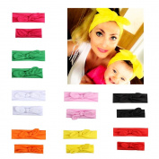 Mommy and Me Matching Rabbit Ears Headbands Photo Prop Gift for Mom and Kids Elastic Cloth Bowknot Hairband Accessories