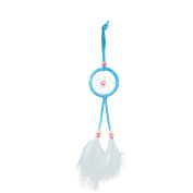 MagiDeal Handmade Blue Dream Catcher White Feathers Home Bedroom Hanging Decoration