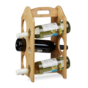 Relaxdays Bamboo Wine Rack Holder for 6 Standard-Size Bottles with Handle and Original Design Free-Standing, Brown, 40 x 20 x 20 cm